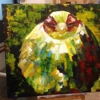 vogel schilderij met vogel