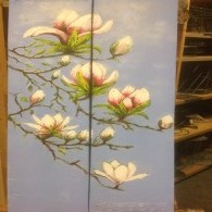 magnolia op steigerhout