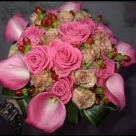 bruidsboeket rose calla en roosjes