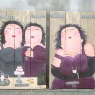 dikke dames, cafe de oude markt